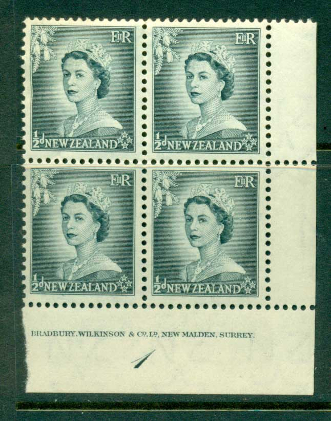 New Zealand 1954 QEII 1/2d Grey Plate 1 Block 4 MUH Lot25323