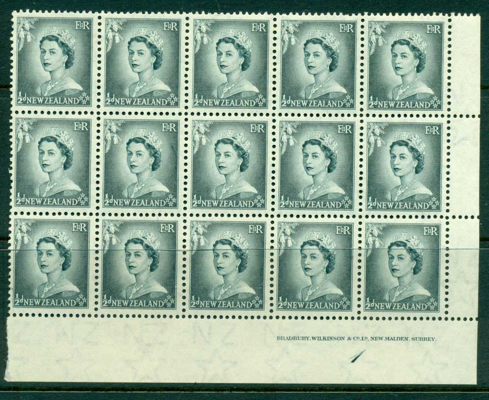 New Zealand 1954 QEII 1/2d Grey Plate 1 Block 15 MUH Lot25326