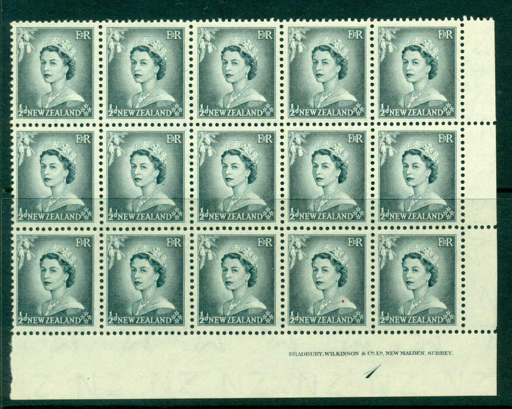 New Zealand 1954 QEII 1/2d Grey Plate 1 Block 15 MUH Lot25327