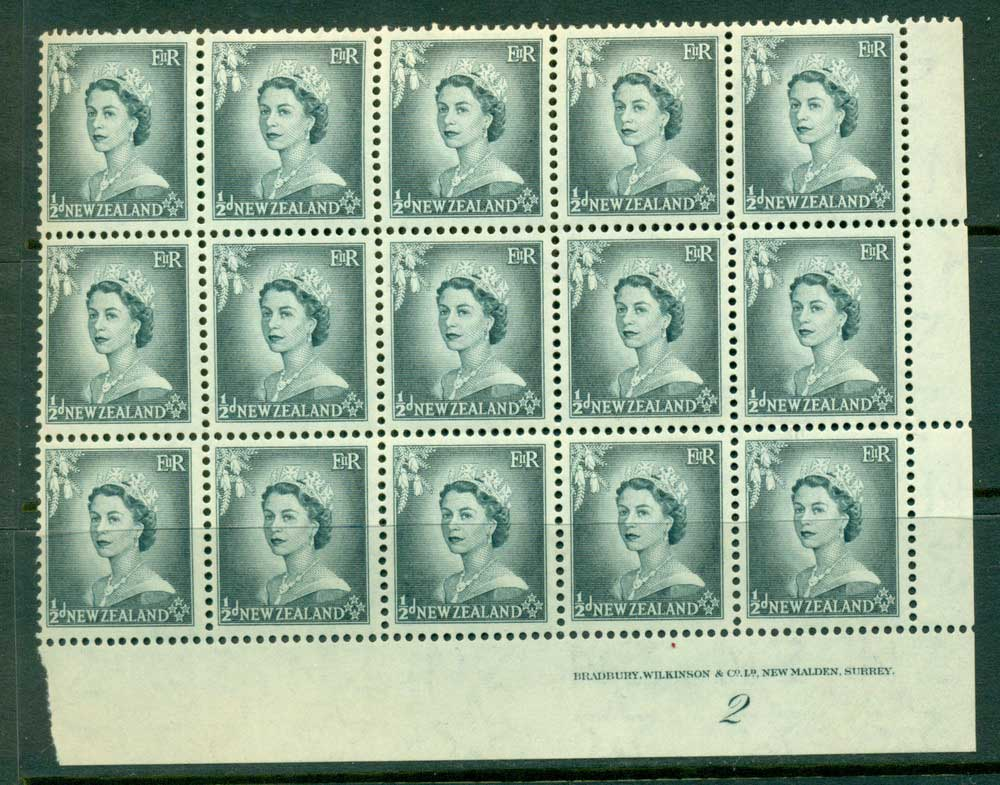 New Zealand 1954 QEII 1/2d Grey Plate 2 Block 15 MUH Lot25329