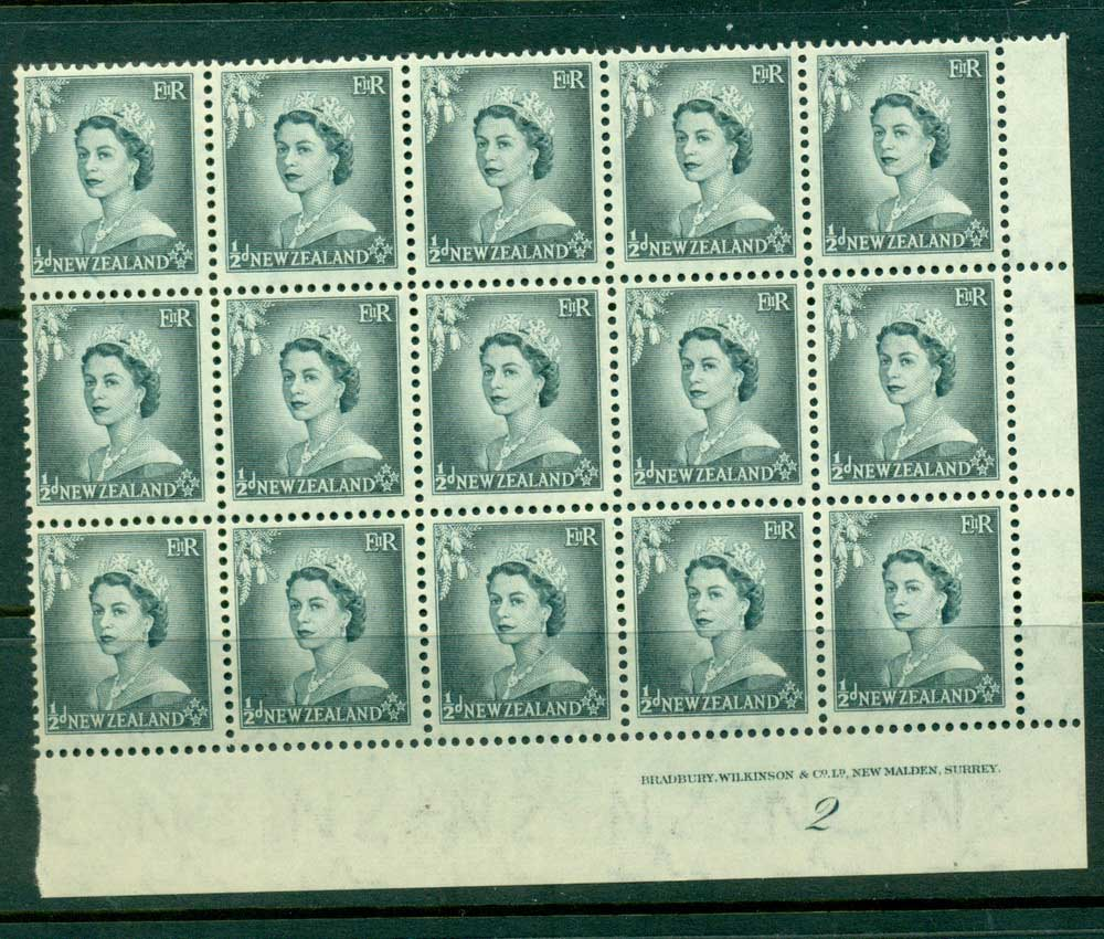 New Zealand 1954 QEII 1/2d Grey Plate 2 Block 15 MUH Lot25330