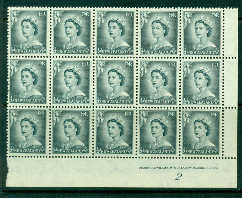 New Zealand 1954 QEII 1/2d Grey Plate 2 Block 15 MUH Lot25331