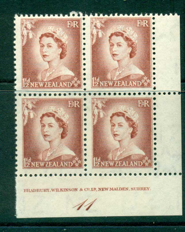 New Zealand 1953 QEII 1�d Lake Brown Plate 11 Block 4 MH/MUH Lot25342