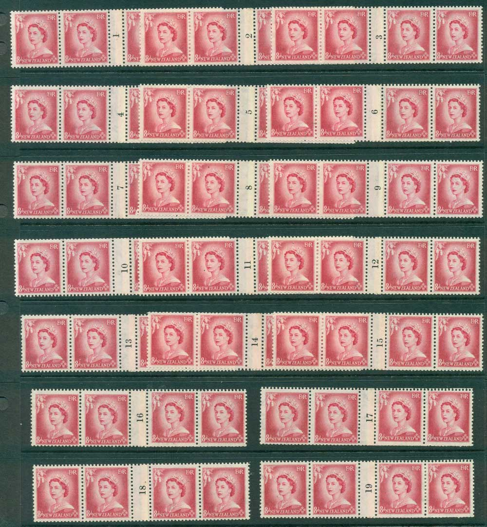 New Zealand 1954 QEII 8d Rose Carmine Coil# 1-19 (4s) MH/MUH Lot25484