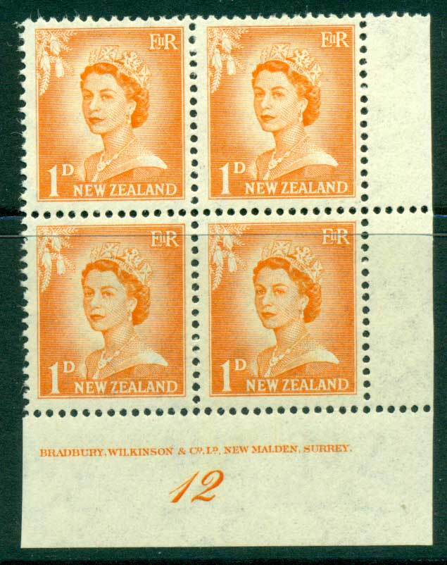 New Zealand 1956 QEII Redrawn 1d Orange Plate 12 Block 4 MH/MUH Lot25500
