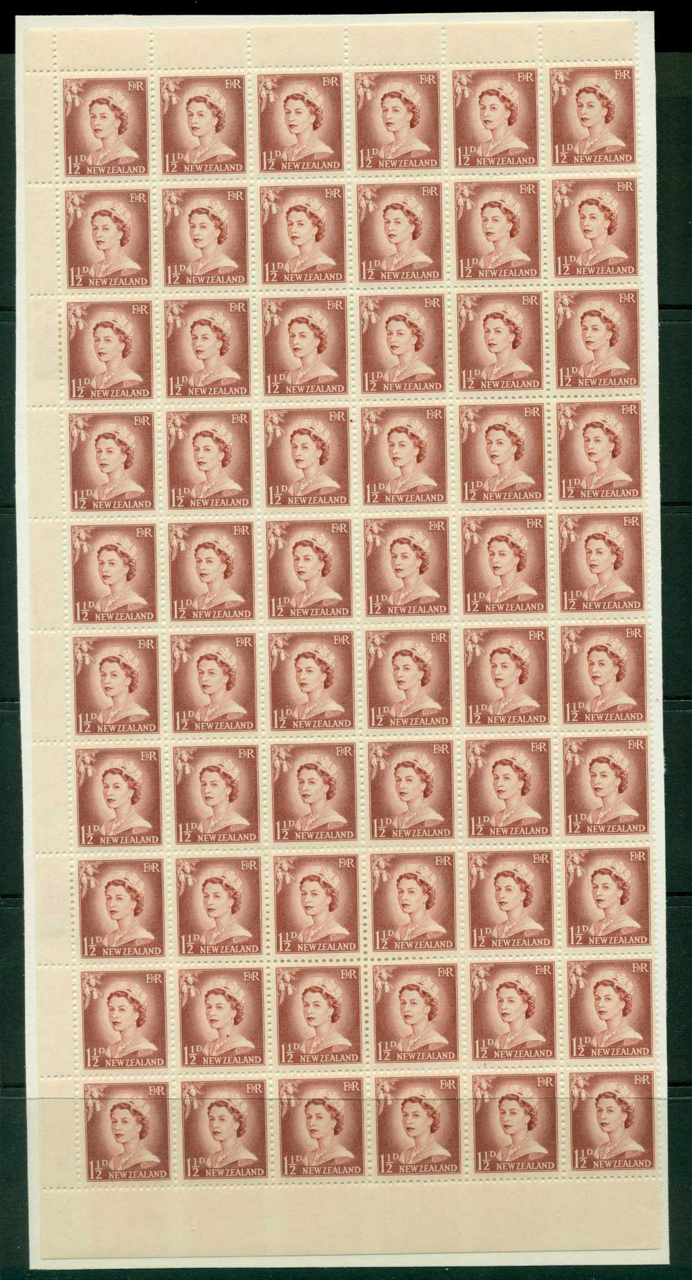 New Zealand 1956 QEII Redrawn 1�d Lake Brown Plate 10 Part Sheet 60 before Retouching MH/MUH Lot25637