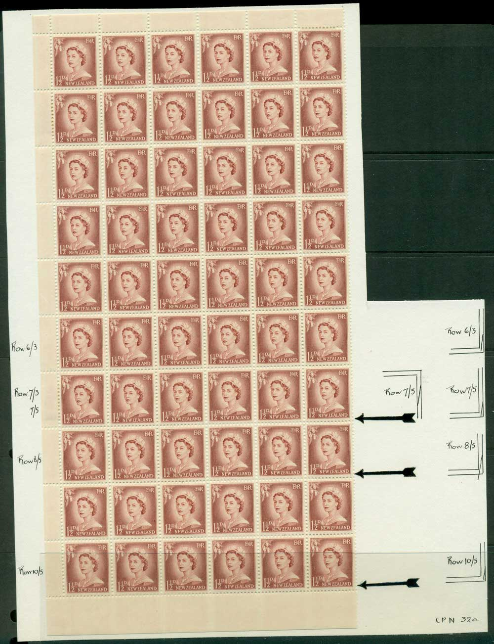 New Zealand 1956 QEII Redrawn 1�d Lake Brown 2xPlate 10 Part Sheet 60 before & After Retouching MH/MUH Lot25638