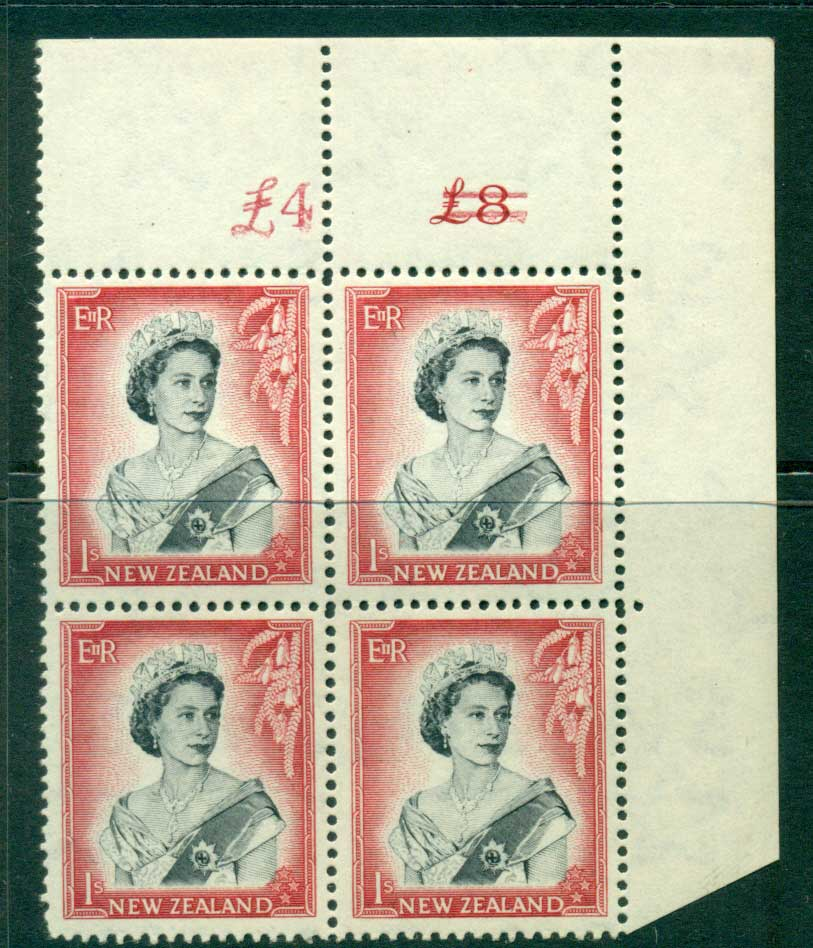 New Zealand 1954 QEII 1/- Black & Carmine Altered Sheet value Cnr Block 4 MUH Lot25647
