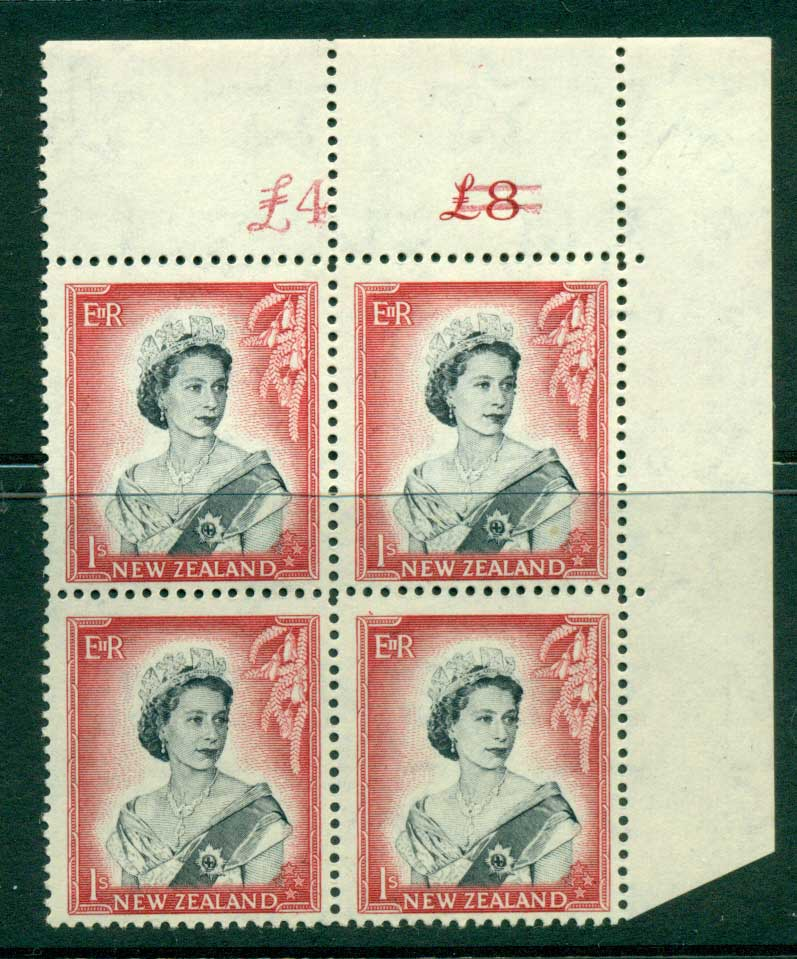 New Zealand 1954 QEII 1/- Black & Carmine Altered Sheet value Cnr Block 4 MUH Lot25648
