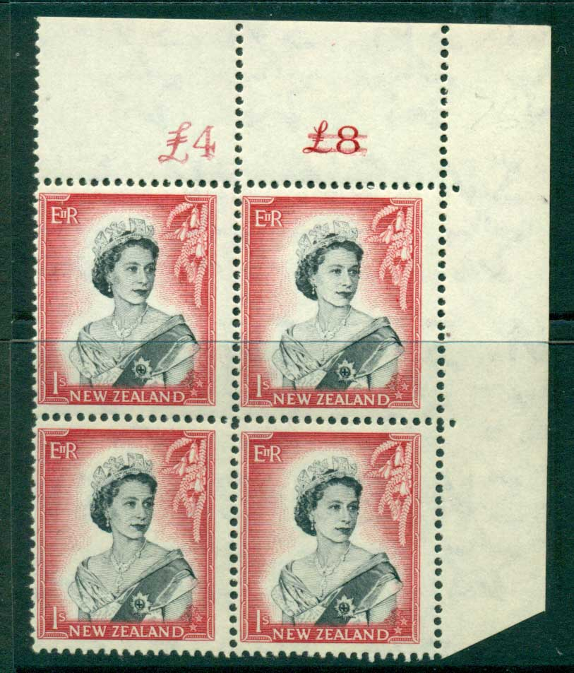 New Zealand 1954 QEII 1/- Black & Carmine Altered Sheet value Cnr Block 4 MUH Lot25649