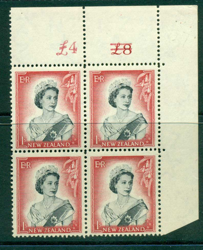 New Zealand 1954 QEII 1/- Black & Carmine Altered Sheet value Cnr Block 4 MUH Lot25650