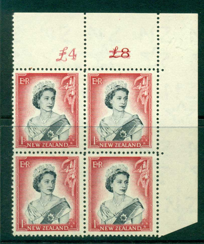New Zealand 1954 QEII 1/- Black & Carmine Altered Sheet value Cnr Block 4 MUH Lot25651