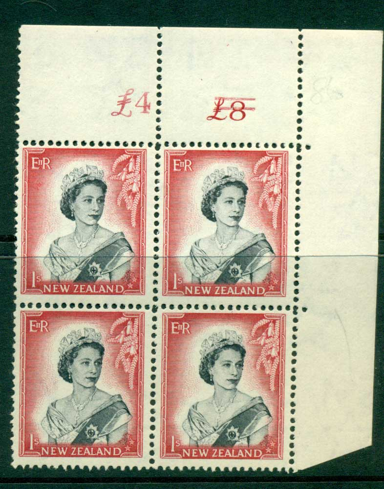 New Zealand 1954 QEII 1/- Black & Carmine Altered Sheet value Cnr Block 4 MUH Lot25652