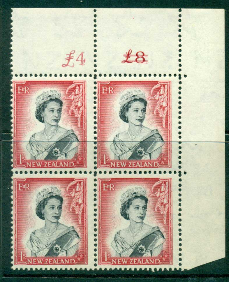 New Zealand 1954 QEII 1/- Black & Carmine Altered Sheet value Cnr Block 4 MUH Lot25653