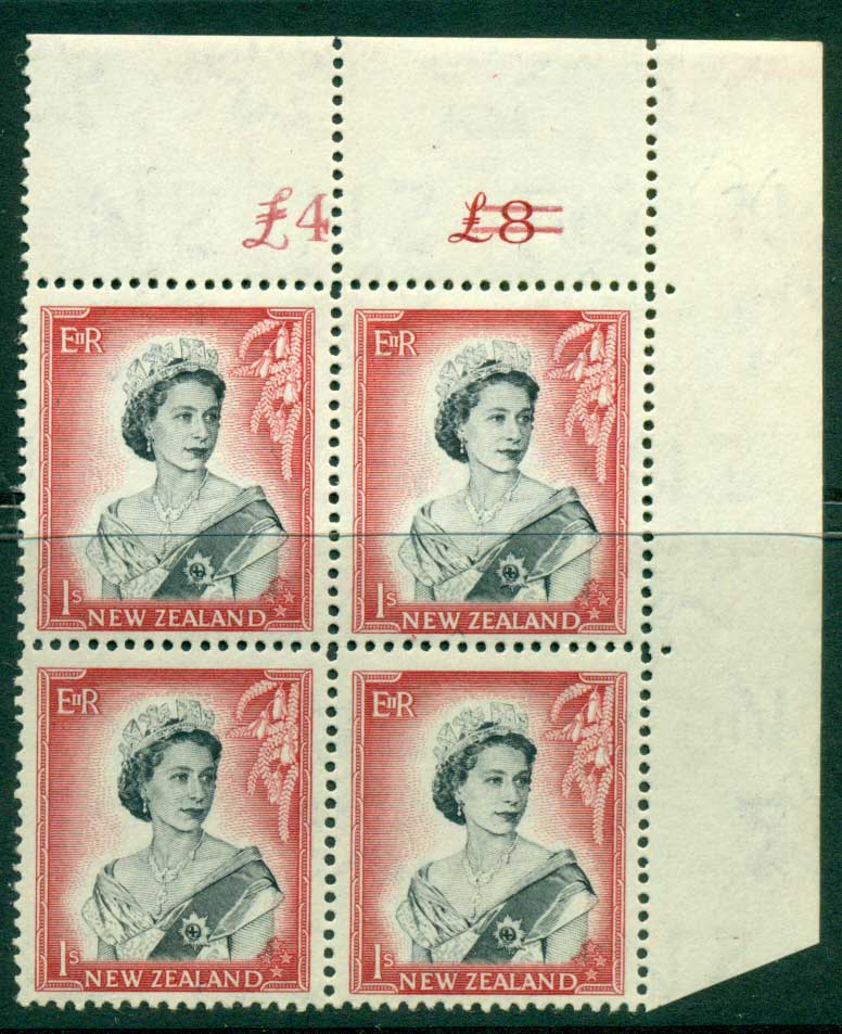 New Zealand 1954 QEII 1/- Black & Carmine Altered Sheet value Cnr Block 4 MUH Lot25654