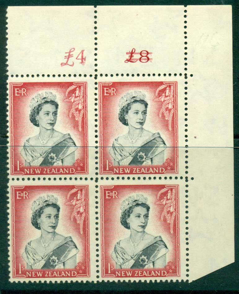New Zealand 1954 QEII 1/- Black & Carmine Altered Sheet value Cnr Block 4 MUH Lot25655