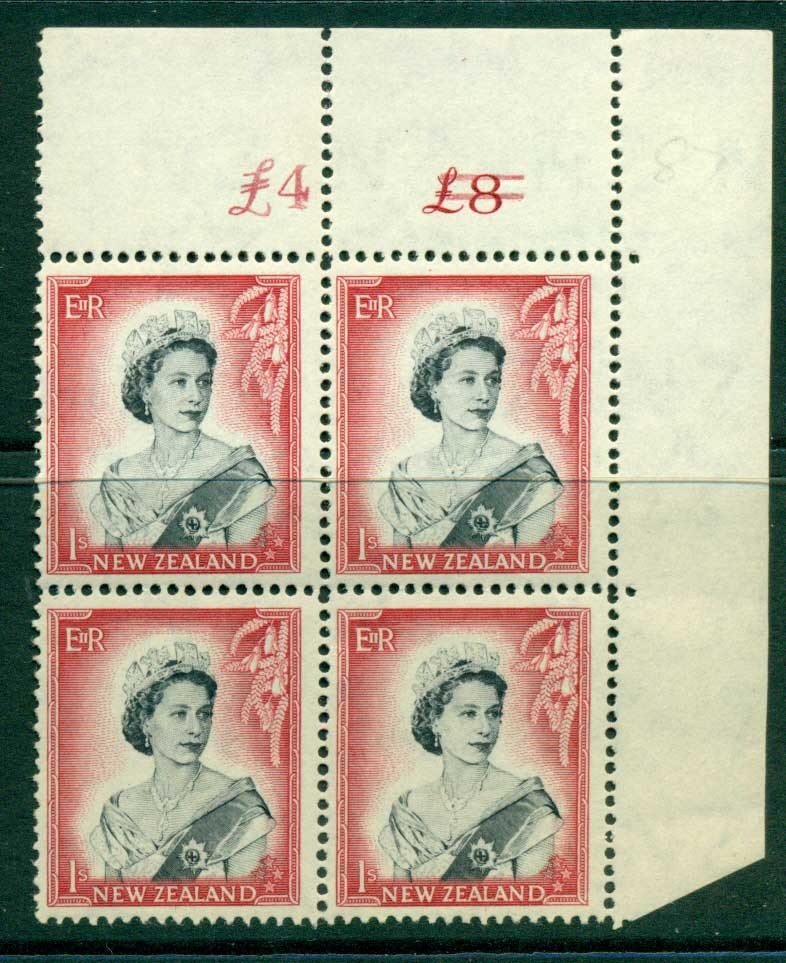 New Zealand 1954 QEII 1/- Black & Carmine Altered Sheet value Cnr Block 4 MUH Lot25656
