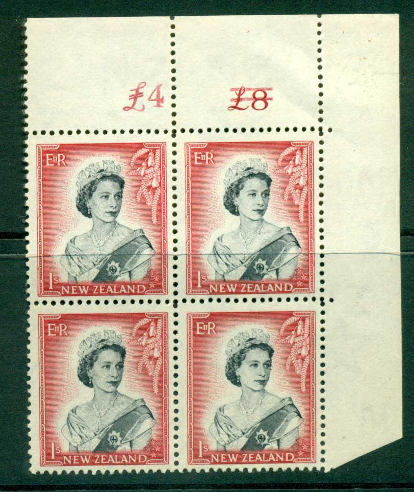 New Zealand 1954 QEII 1/- Black & Carmine Altered Sheet value Cnr Block 4 MUH Lot25658