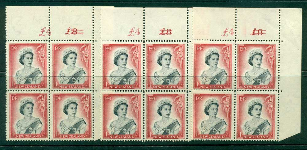 New Zealand 1954 QEII 1/- Black & Carmine Altered Sheet value 3xCnr Block 4 (small faults) MH/MUH Lot25659