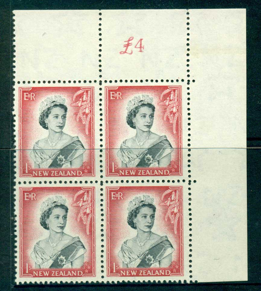 New Zealand 1954 QEII 1/- Black & Carmine Sheet Value Block 4 MH/MUH Lot25667