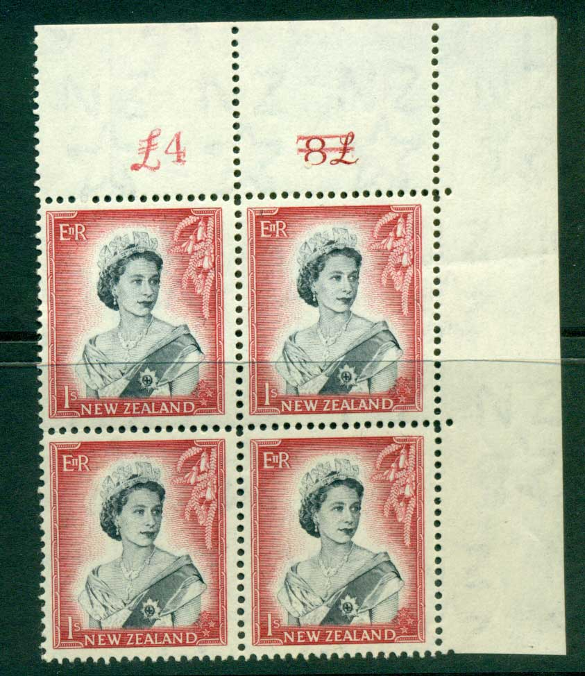 New Zealand 1954 QEII 1/- Black & Carmine Plate 1b First Type Altered Sheet value Cnr Block 4 MH/MUH Lot25681