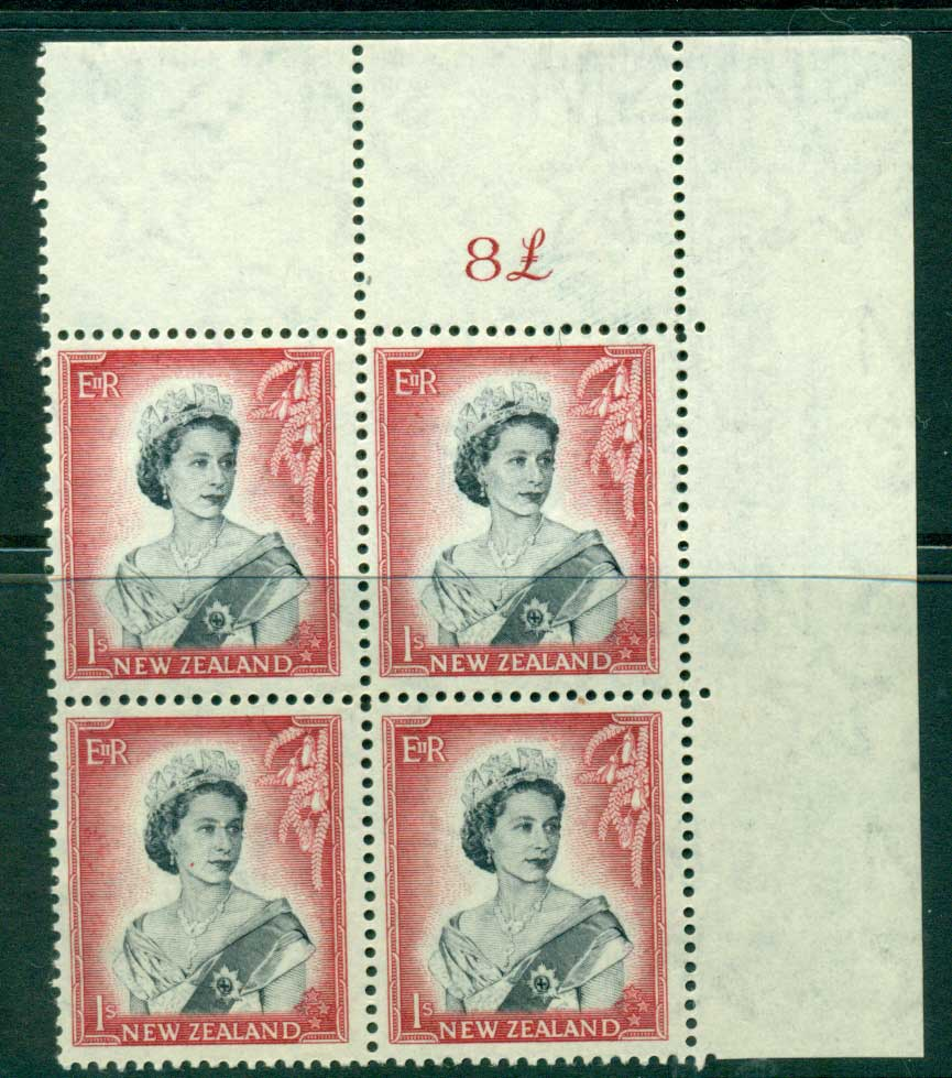 New Zealand 1954 QEII 1/- Black & Carmine Whole Sheet value � on right Cnr Block 4 MH/MUH Lot25682