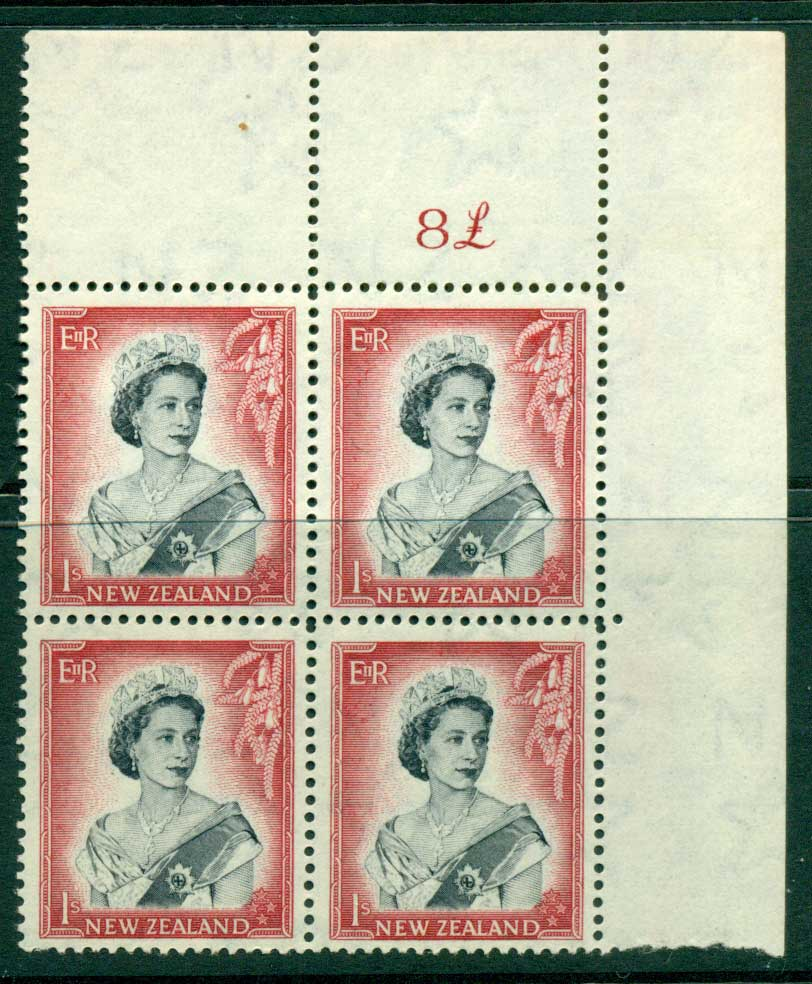 New Zealand 1954 QEII 1/- Black & Carmine Whole Sheet value � on right Cnr Block 4 MH/MUH Lot25683