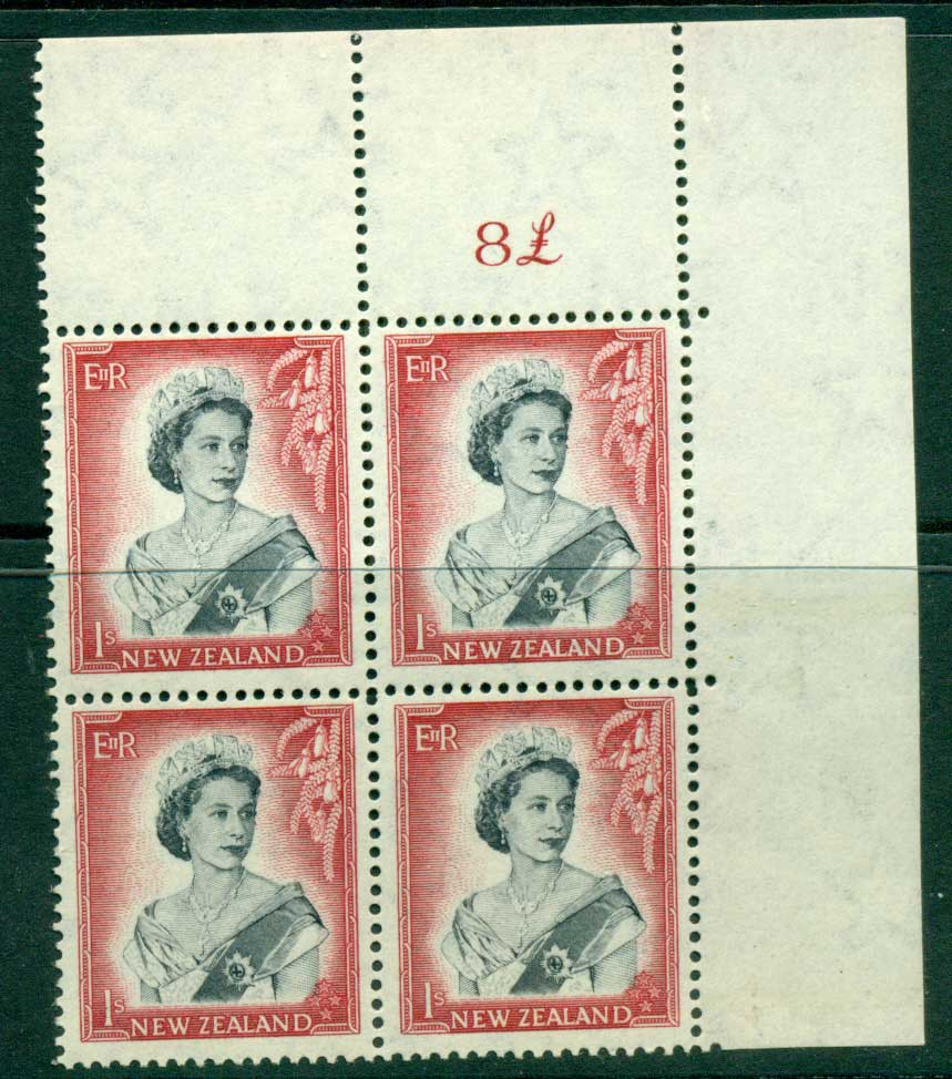 New Zealand 1954 QEII 1/- Black & Carmine Whole Sheet value � on right Cnr Block 4 MH/MUH Lot25685