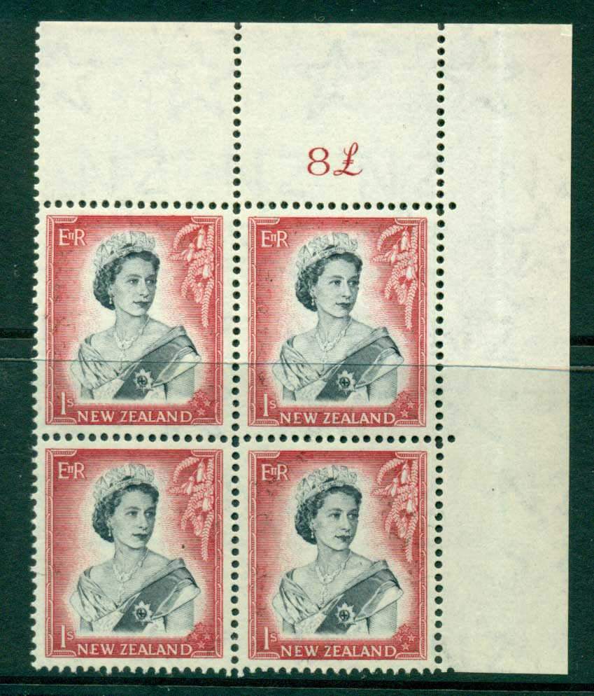New Zealand 1954 QEII 1/- Black & Carmine Whole Sheet value � on right Cnr Block 4 MH/MUH Lot25686