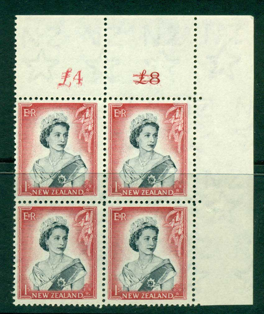 New Zealand 1954 QEII 1/- Black & Carmine Altered Sheet value � on left Cnr Block 4 MH/MUH Lot25687