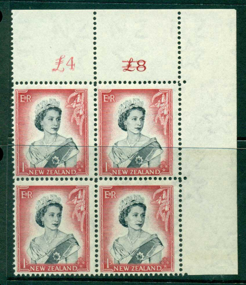 New Zealand 1954 QEII 1/- Black & Carmine Altered Sheet value � on left Cnr Block 4 MH/MUH Lot25688