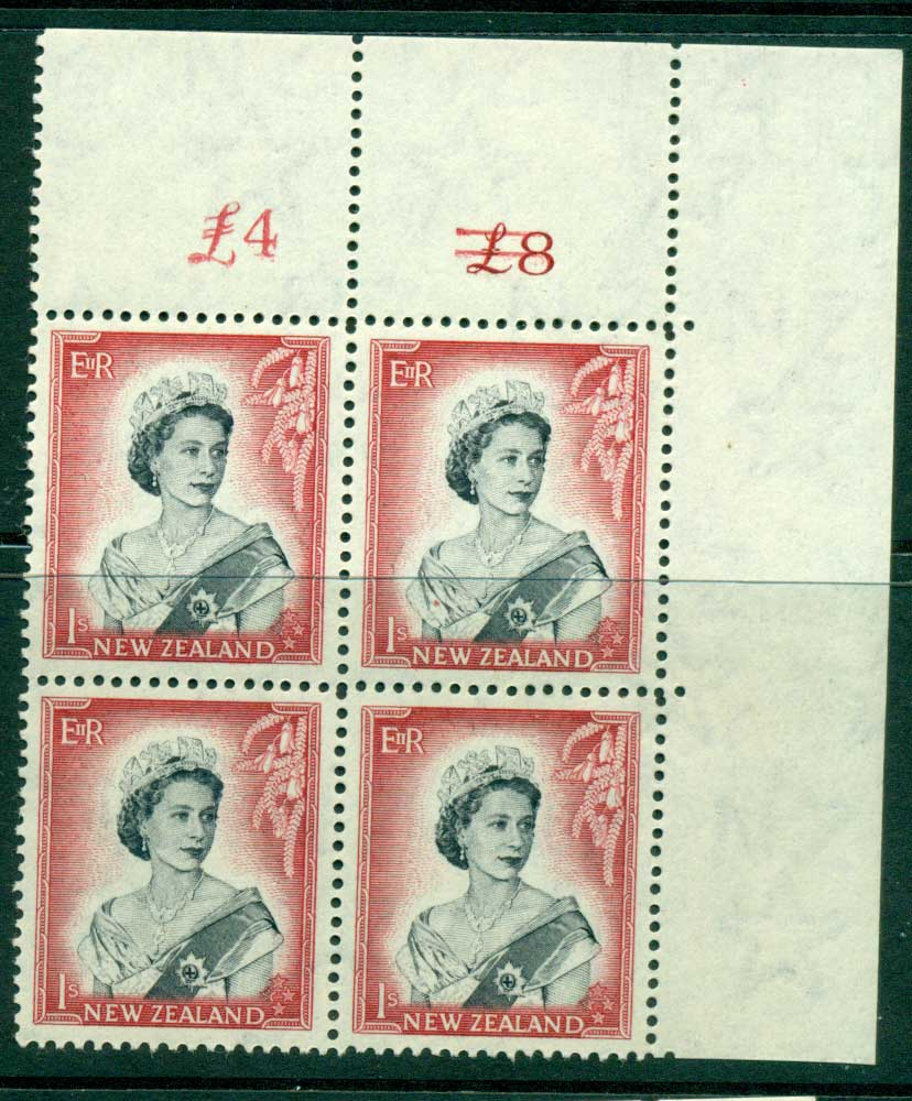 New Zealand 1954 QEII 1/- Black & Carmine Altered Sheet value � on left Cnr Block 4 MH/MUH Lot25689