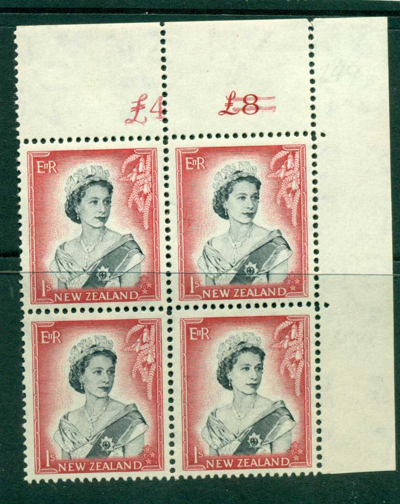 New Zealand 1954 QEII 1/- Black & Carmine Altered Sheet value � on left (close spacing) Cnr Block 4 MH/MUH Lot25691