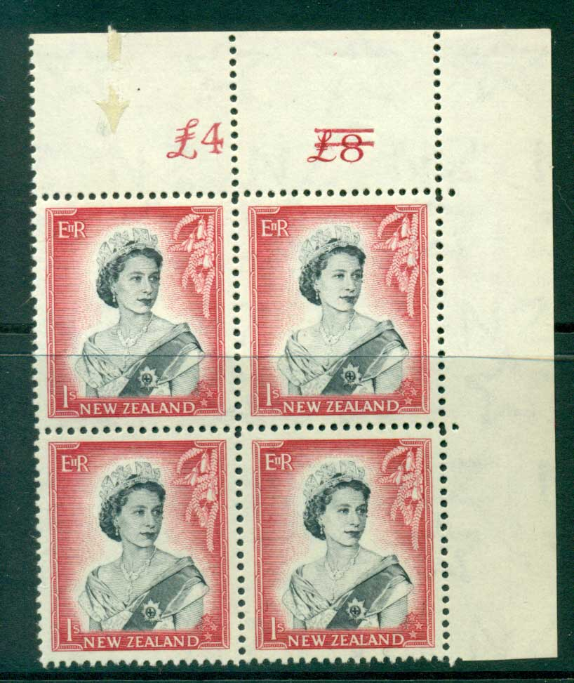 New Zealand 1954 QEII 1/- Black & Carmine Altered Sheet value � on left (close spacing)(arricator mark on selvedge) Cnr Block