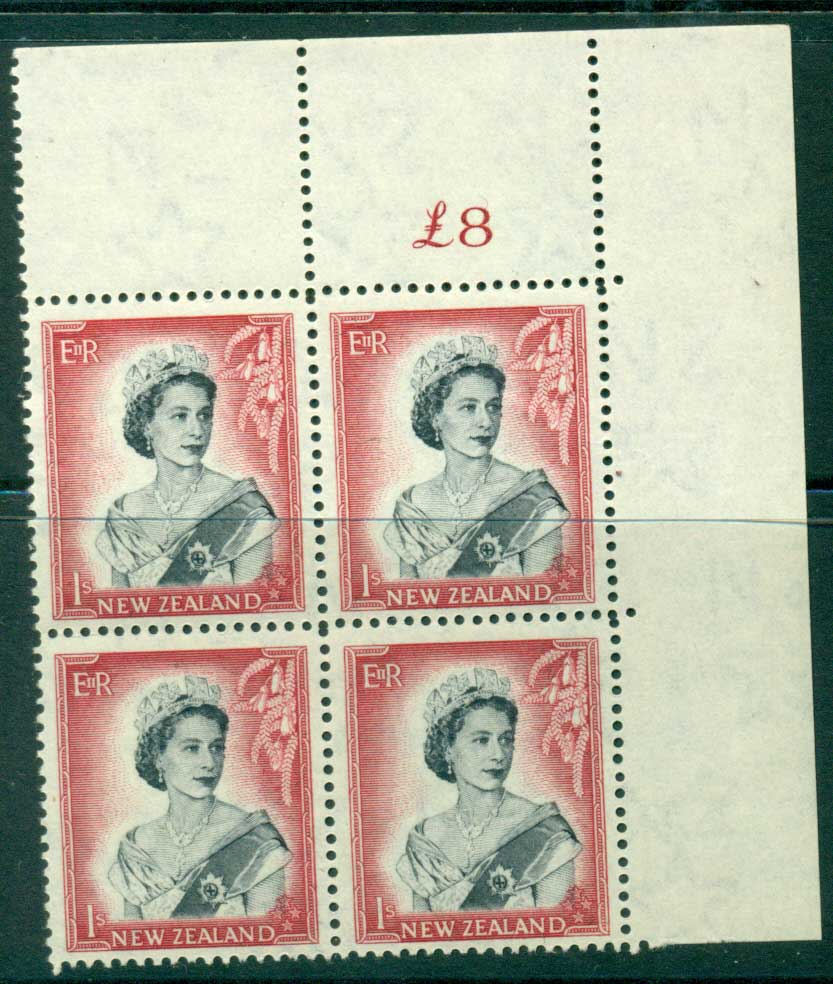 New Zealand 1954 QEII 1/- Black & Carmine Whole Sheet value � on left Cnr Block 4 MH/MUH Lot25696