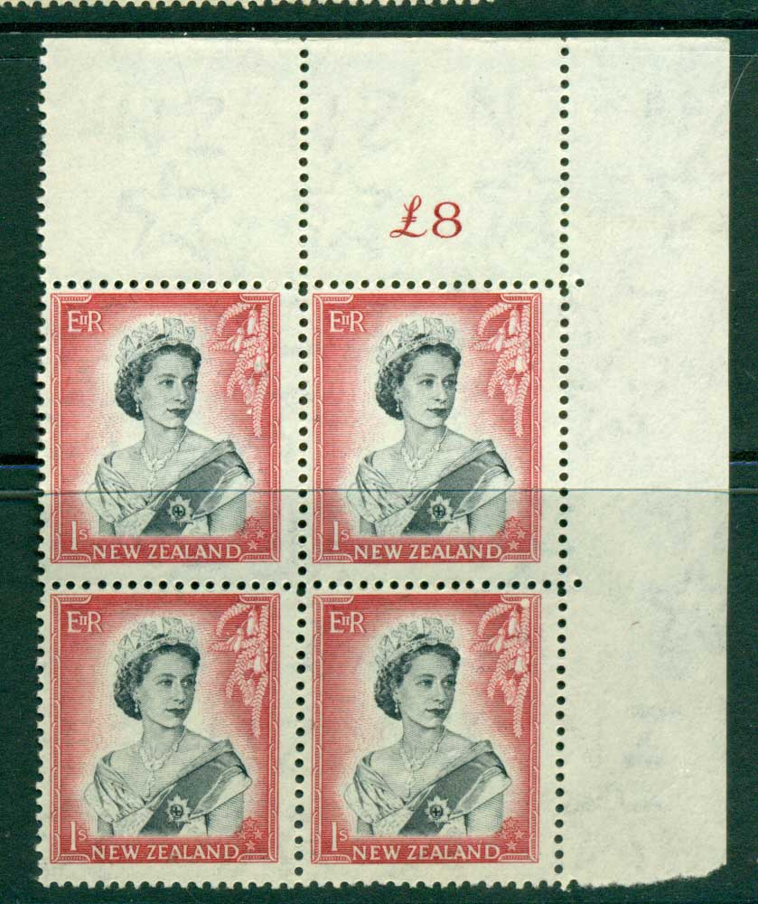 New Zealand 1954 QEII 1/- Black & Carmine Whole Sheet value � on left Cnr Block 4 MH/MUH Lot25697