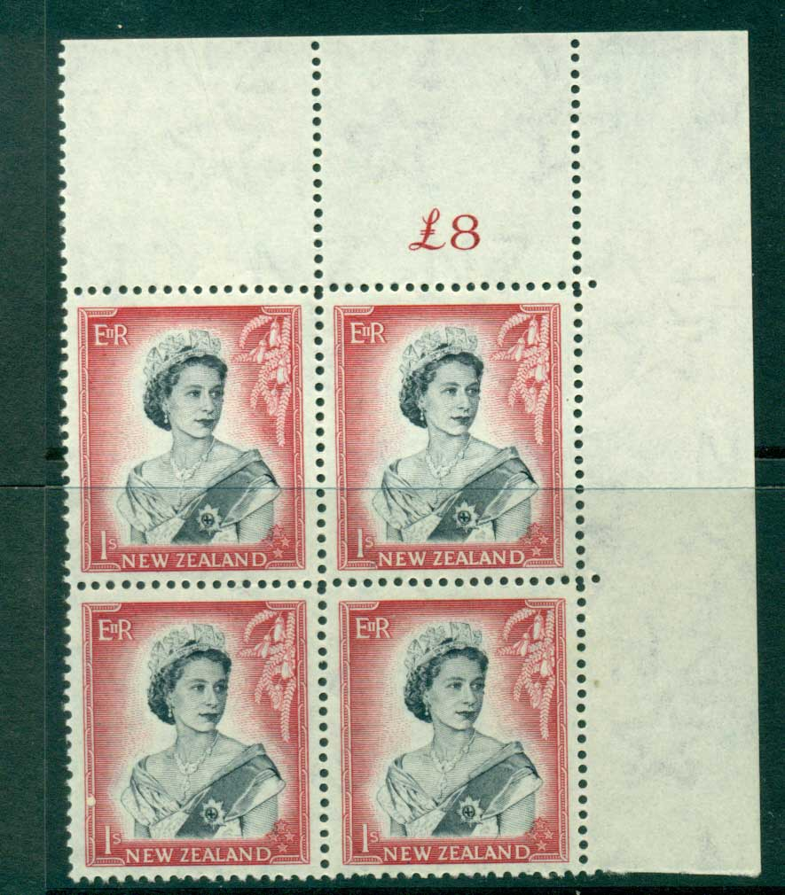 New Zealand 1954 QEII 1/- Black & Carmine Whole Sheet value � on left Cnr Block 4 MH/MUH Lot25698