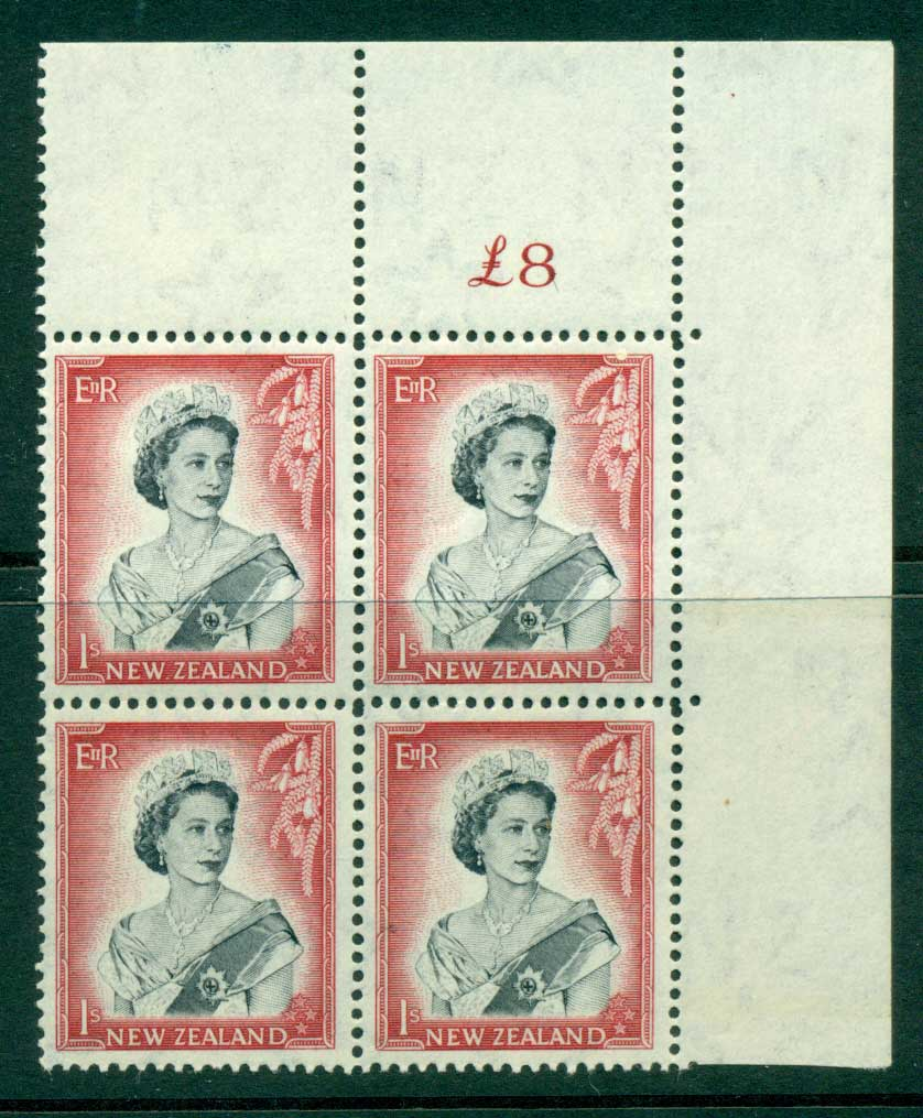 New Zealand 1954 QEII 1/- Black & Carmine Whole Sheet value � on left Cnr Block 4 MH/MUH Lot25699