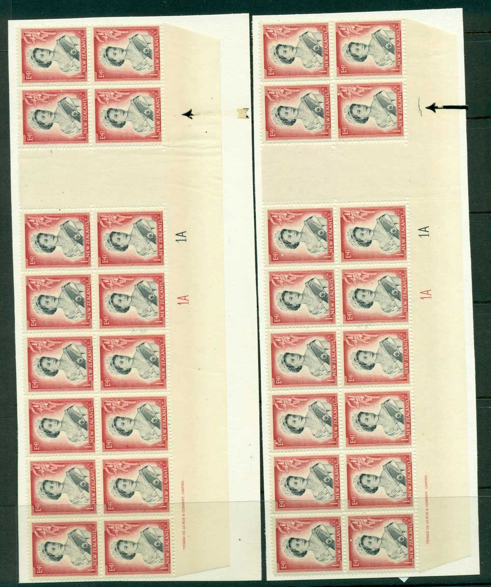 New Zealand 1954 QEII 1/- Black & Carmine Plate 1A 1A Gutter 2x Imprint Block 16 showing Plate crack development, 0,& 4 stage(ar