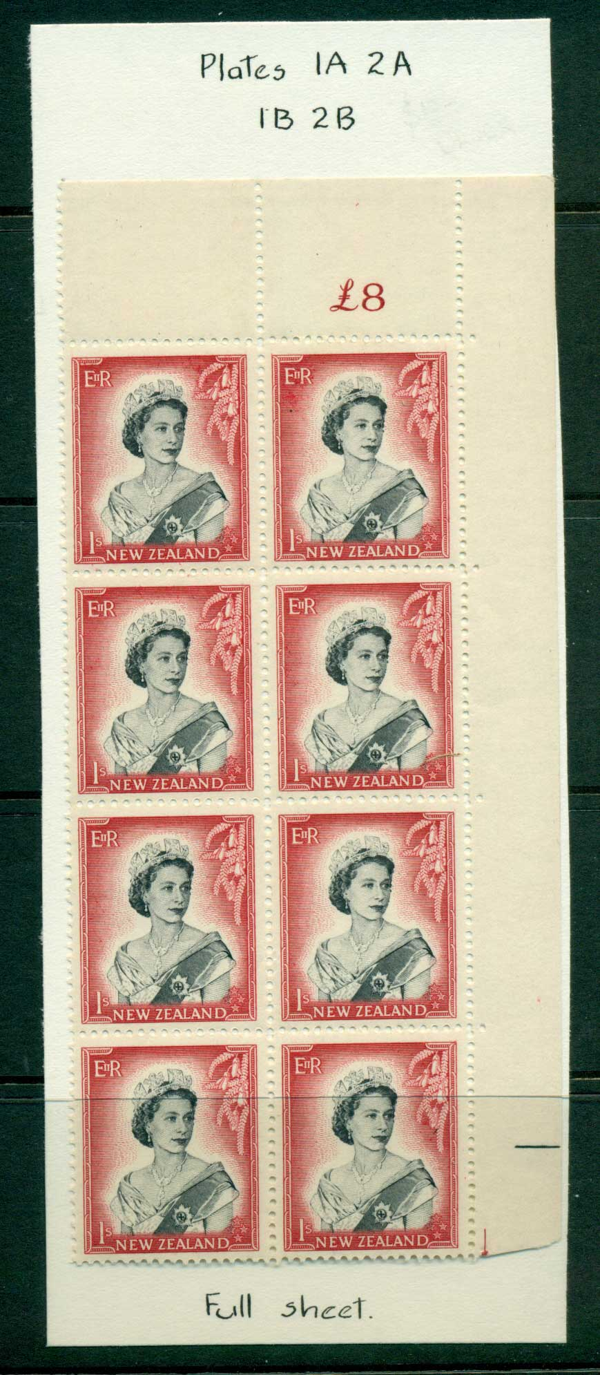 New Zealand 1954 QEII 1/- Black & Carmine Whole Sheet value � on left Cnr Block 8 MH/MUH Lot25730