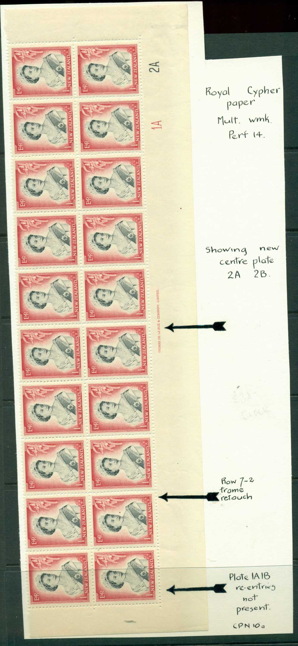 New Zealand 1954 QEII 1/- Black & Carmine Plate 1A 2A Gutter & Imprint Block 20 MH/MUH Lot25735