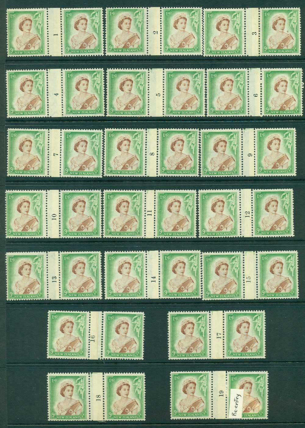 New Zealand 1954 QEII 9d Brown & Green Coil Join #1-19 pairs number sideways reading upwards MH/MUH Lot25736
