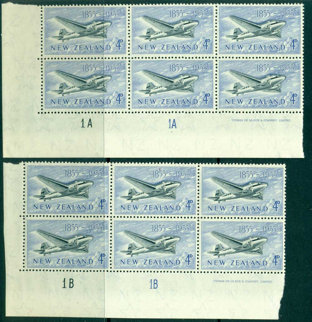 New Zealand 1955 4d Douglas DC-3 Plane 1A 1A + 1B 1B Imprint & Plate Blocks 6 MUH Lot25774