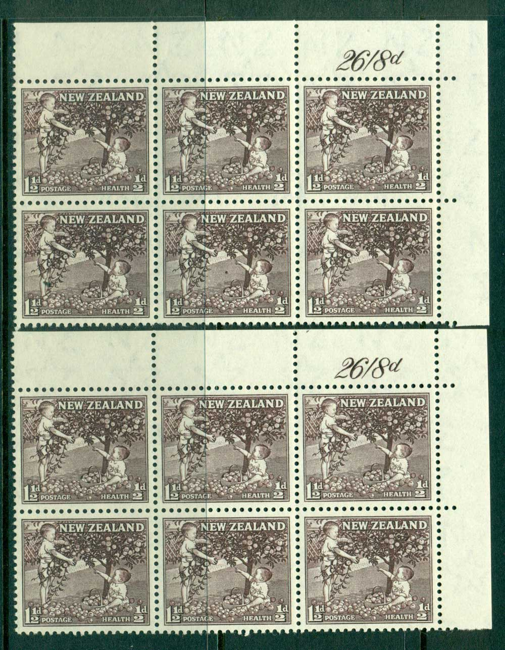 New Zealand 1956 1�d Health Apple Tree Deep Sepia + Purple Sepia Sheet Value Blocks 6 MH/MUH Lot25782