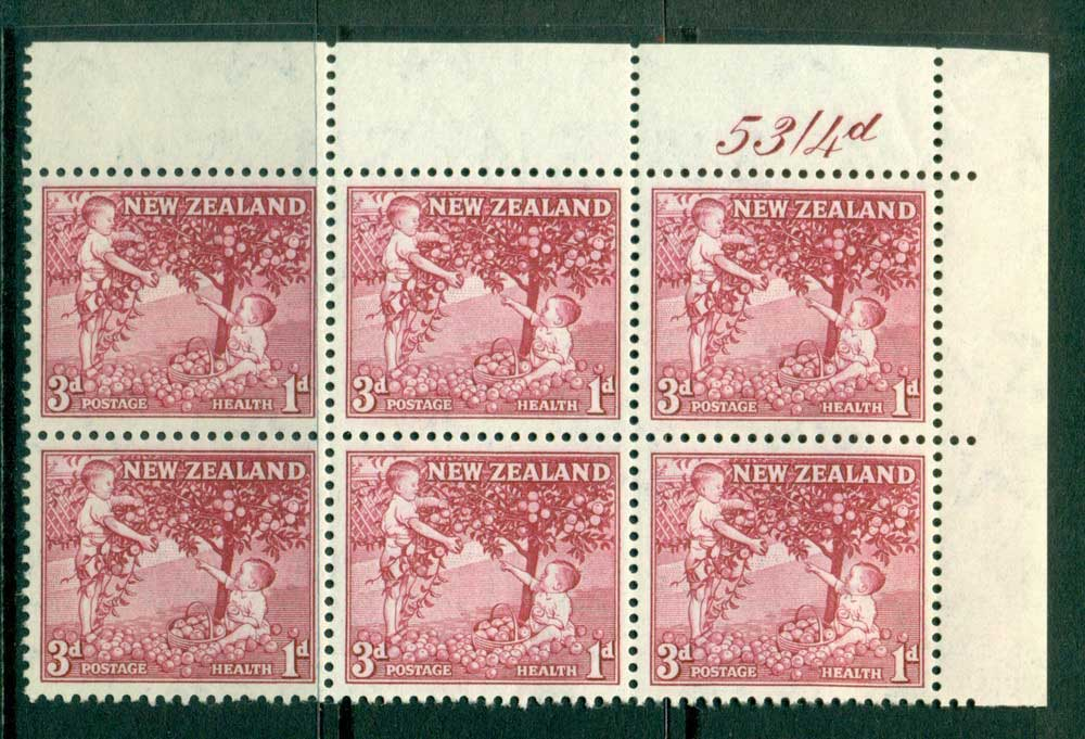 New Zealand 1956 3d Health Apple Tree Old Rose Sheet Value Block 6 MH/MUH Lot25790