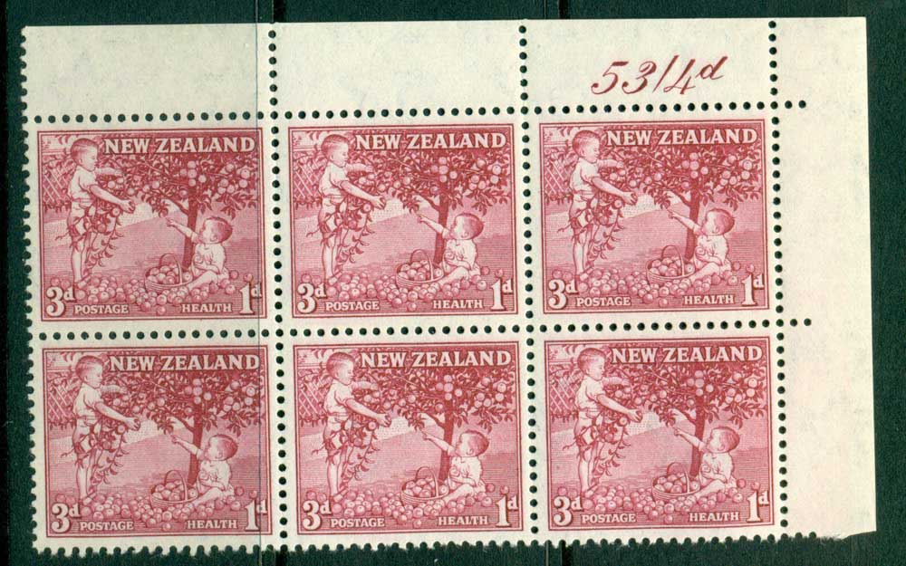 New Zealand 1956 3d Health Apple Tree Old Rose Sheet Value Block 6 MH/MUH Lot25791