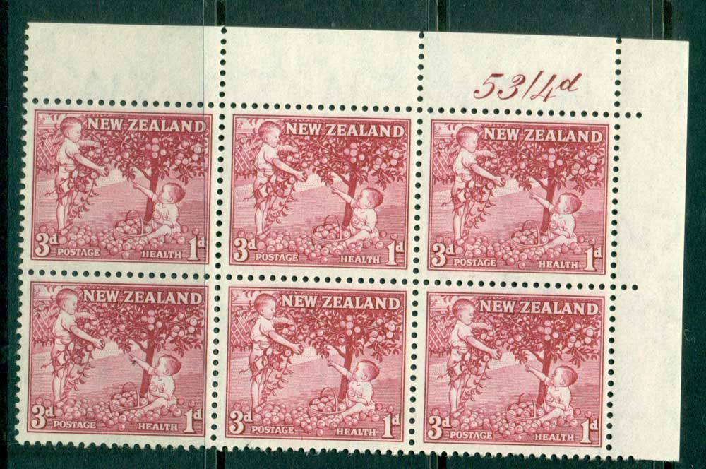 New Zealand 1956 3d Health Apple Tree Old Rose Sheet Value Block 6 MH/MUH Lot25792