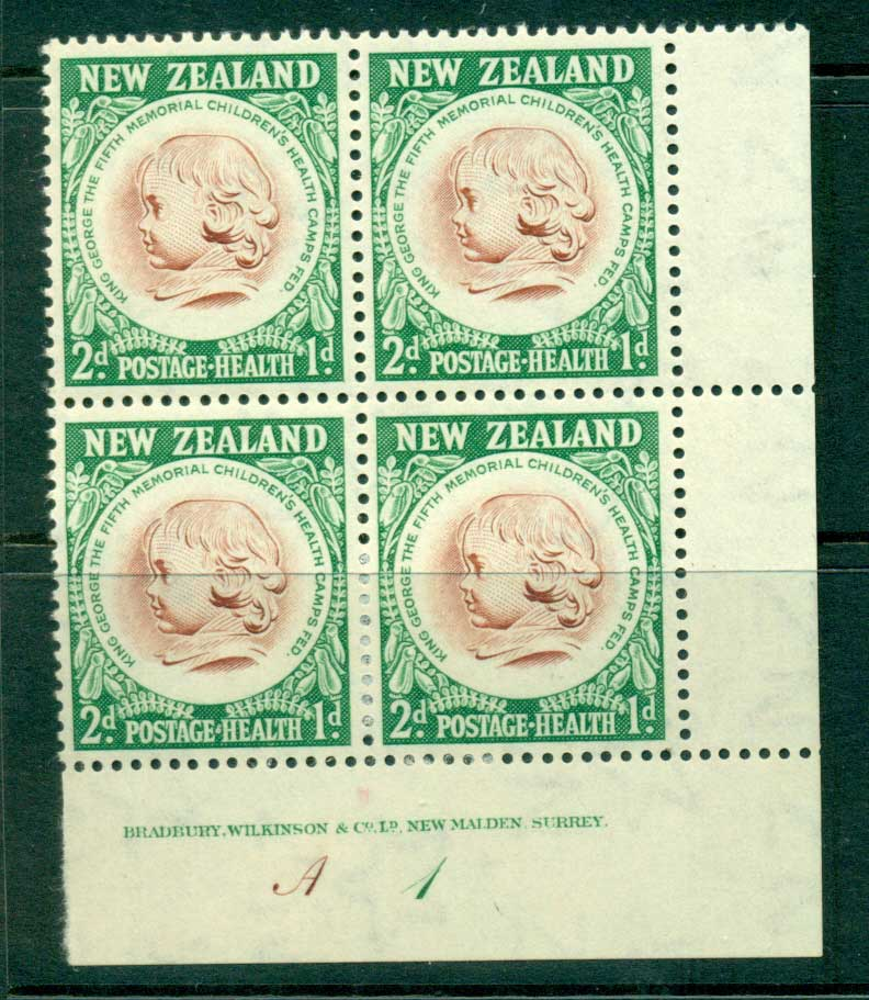 New Zealand 1955 Health 2d Medallion Plate A1 Imprint Block 4 (gum adhesions) MH Lot25826