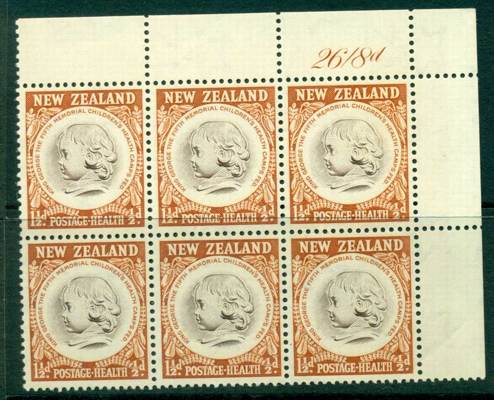 New Zealand 1955 Health 1�d Medallion Sheet value Block 6 MH/MUH Lot25848