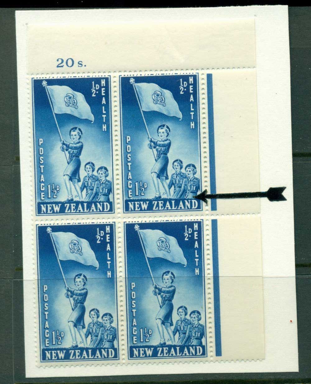 New Zealand 1953 Health 1�d Guides Sheet value Block 4 Flaw above N MH/MUH Lot25873